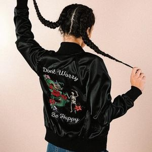 Valfre Dont Worry Be Happy Satin Jacket Black